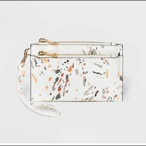Double Zip Pouch Wristlet - abstract white